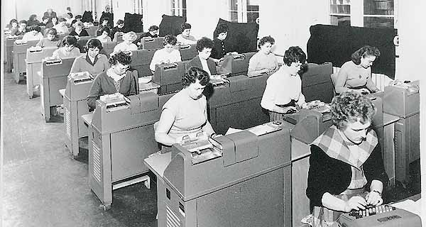 Hole-punchers at work in the 1950s