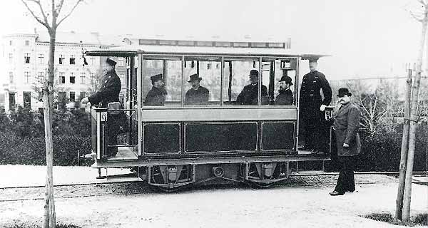 The first electric tram in the world