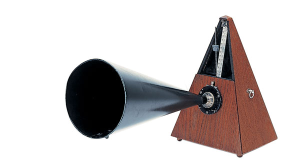 Rhythmic typing - a metronome with a horn for training.